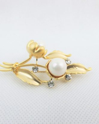 Pearl On Bronze Broach