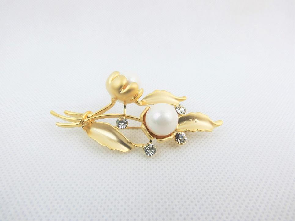 Pearl On Bronze Broach
