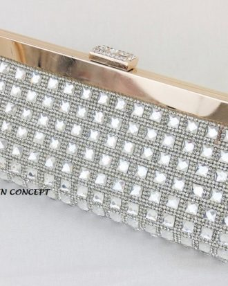 Valentina High End Celebrity Clutch, Gold-Silver