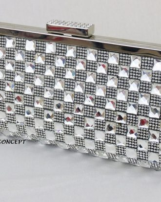 Valentina High End Celebrity Clutch, Silver