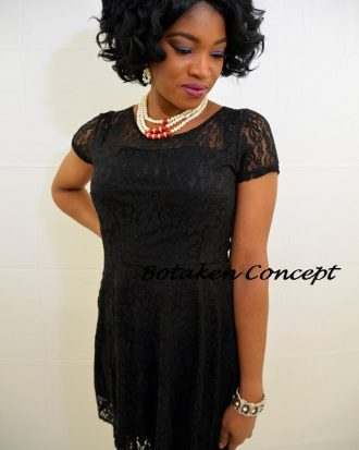 DEVOTION TO SHORT - SLEEVE LACE DRESS- BLACK