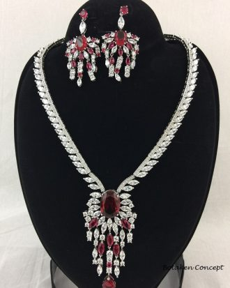 AMERICAN DIAMOND RED STONES. BEAUTIFUL DESIGN. HIGH QUALITY