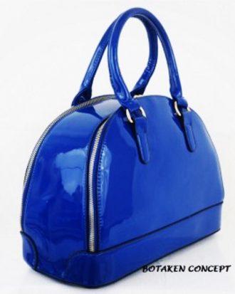 Unique Patent Sage Handbag, Royal