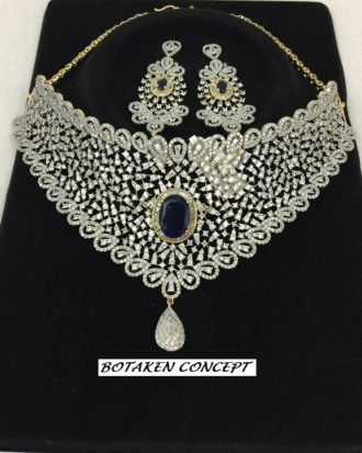NICE ROYAL BLUE STONES DECORATING AMERICAN DIAMOND, CHOKER SETS. HIGH QUALITY. 30% Off
