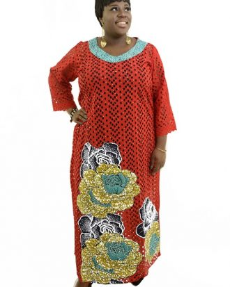 ATTENTION SEEKER RHINESTONE KAFTAN, RED TEAL NECKLINE.
