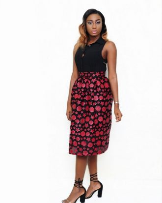 BORN TO LEAD BALL SKIRT, RED/BLACK