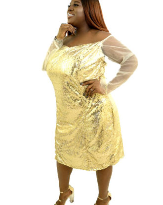 FEELING FAB AND CLASSY DRESS, GOLD