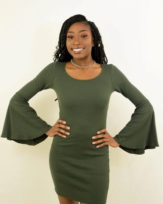 Ultra Flirt Ribbed Bell Sleeve Dress, Olive