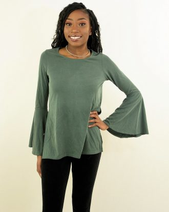 Ultra Flirt Side Slit Cupro Bell Sleeve, Hunter Green
